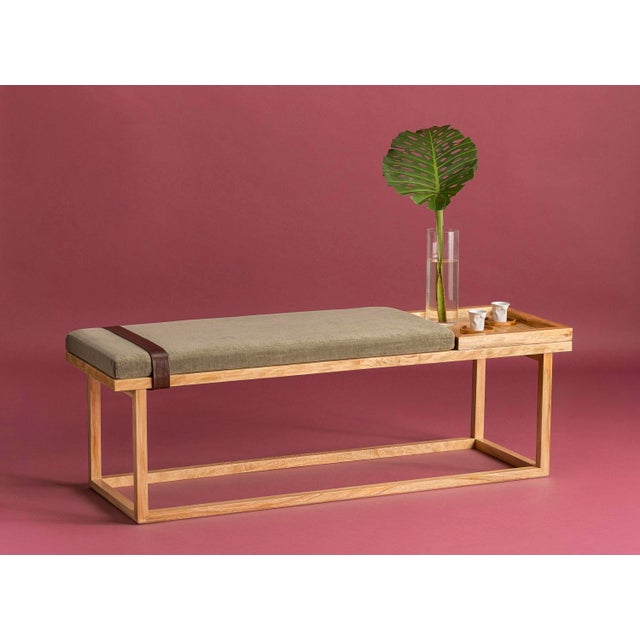 Ebb and Flow Ebb and Flow Tray Bench in Violet Grey Velvet For Sale - Image 4 of 6