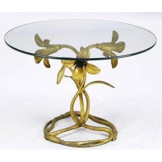 1960s Art Nouveau Arthur Court Gilded Lily Side Table Preview