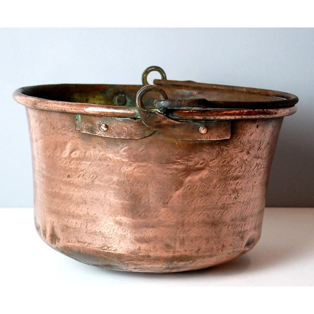 Hand forged and Hammered Copper Cauldron C. 1850. Well crafted with Iron handle and beautiful patina. Great decorative...
