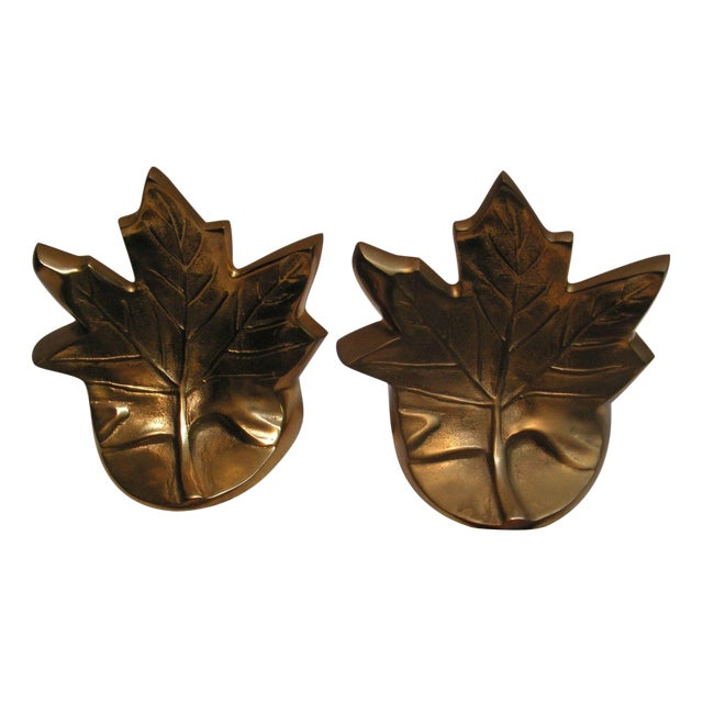 Vintage Brass Maple Leaf Bookends - A Pair For Sale
