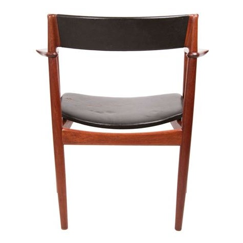 Teak & Leather Arm Chairs - A Pair For Sale - Image 4 of 7