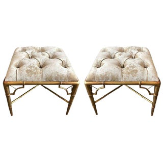 Pair 1950s Giltwood Faux Bamboo Tufted Benches For Sale