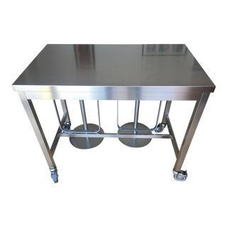 Stainless Steel Counter Height Table and 2 Stools