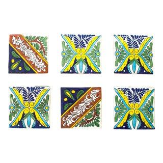Vintage Talavera Tile Coasters - Set of 6