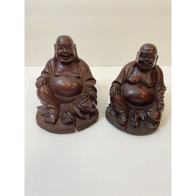 Vintage Chinese Hand Carved Bamboo Buddha Figurines - Pair For Sale - Image 12 of 12
