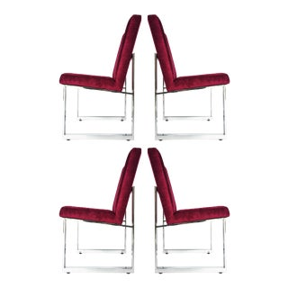Stunning Set of Milo Baughman for Thayer Coggin Dining Chairs on Wheels For Sale