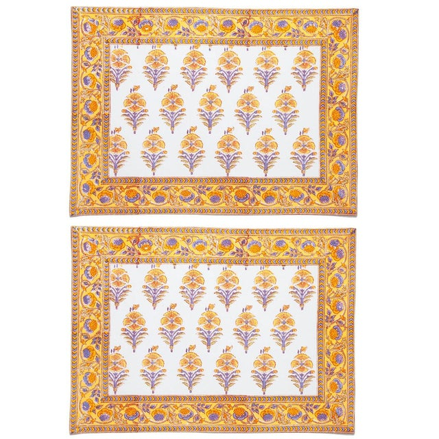 Not Yet Made - Made To Order Juhi Flower Placemats Yellow - A Pair For Sale - Image 5 of 5
