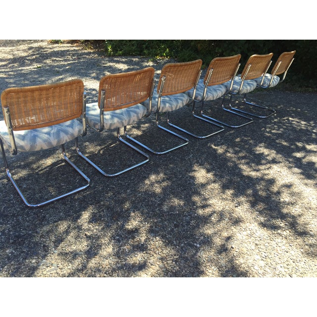 Chrome & Rattan Cantilevered Dining Chairs - 6 - Image 3 of 6