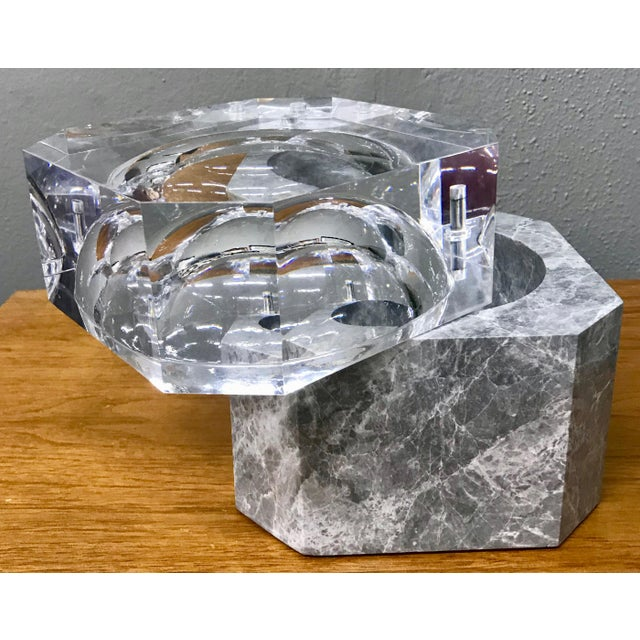 Contemporary Modern New Gray Marble & Lucite Octagon Ice Bucket For Sale - Image 3 of 8