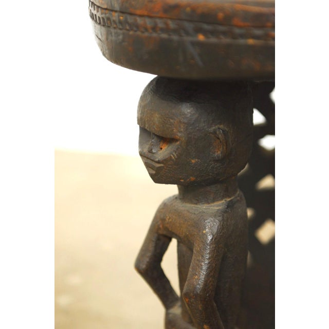 Primitive African Carved Tribal Stool with Figural Legs For Sale - Image 3 of 12