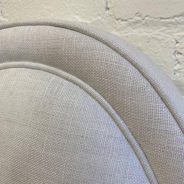 White New Queen Size Custom Design Upholstered Linen Bed Frame For Sale - Image 8 of 13