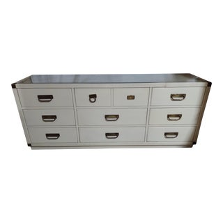 Vintage Drexel MCM Natural Rattan & Solid Wood Modern Aged White Lacquered Dresser Glass Style Near Tommy Bahama For Sale