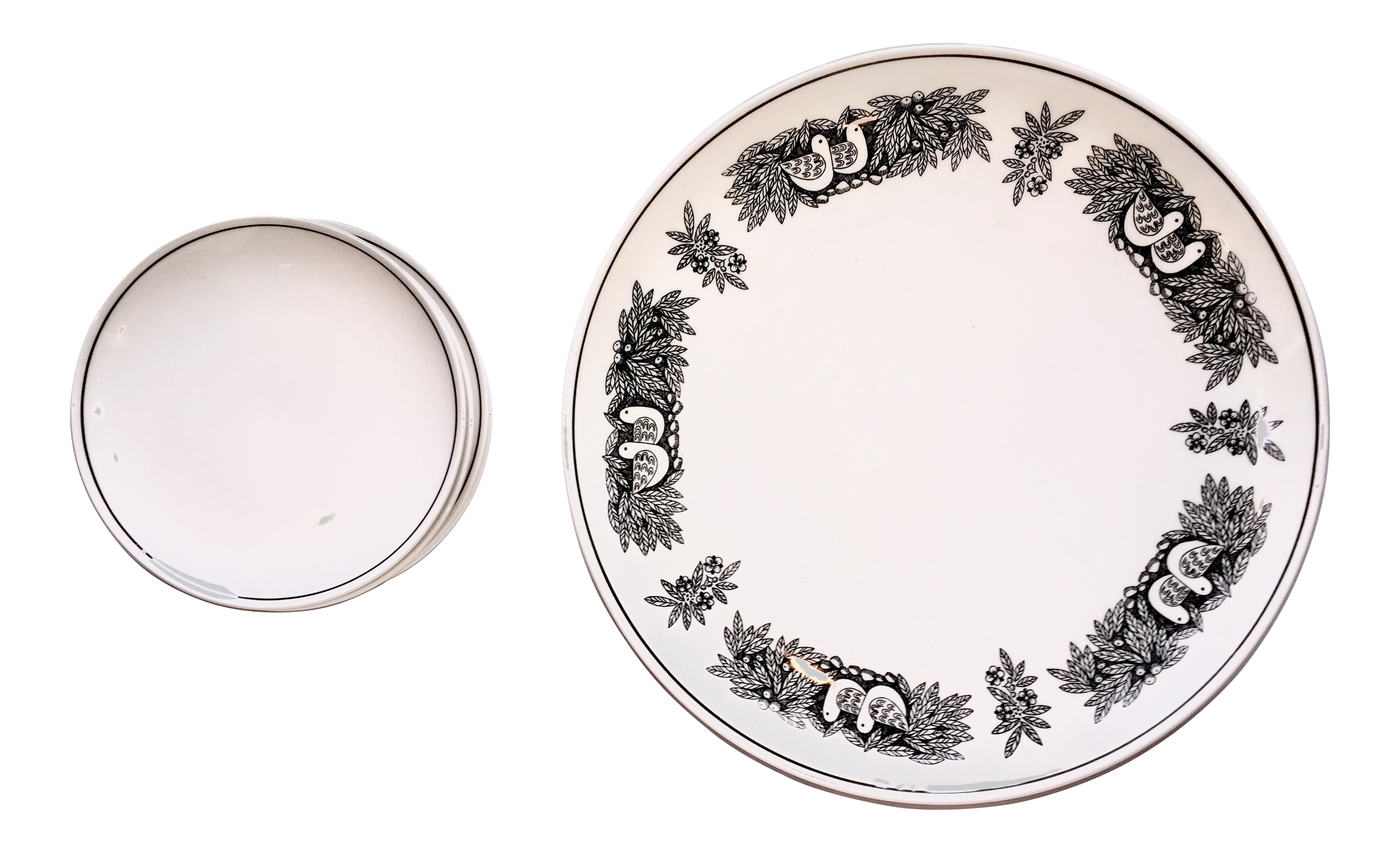 Franciscan Bird Nu0027 Hand White Stoneware - Set of 11  sc 1 st  Chairish & Vintage u0026 Used Black Decorative Plates | Chairish