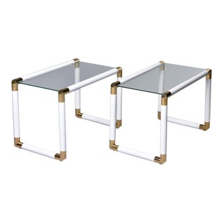 Mid-Century Glass Top Tables With Brass and White Metal Tubular Frames - a Pair For Sale