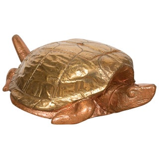 1980s Mid-Century Modern Arthur Court Copper and Brass Clad Wood Turtle Box For Sale