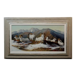 Gary Swanson -Big Horn Mountain Sheep Resting - Oil Painting For Sale
