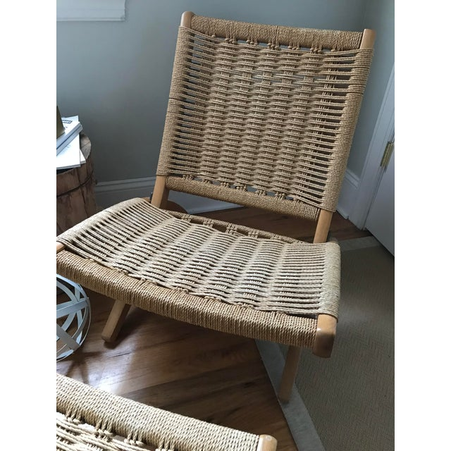 Hans Wegner Style Rope Lounge Chair & Ottoman - A Pair - Image 6 of 9