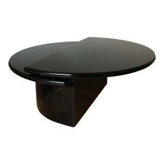 Lane Black Lacquer Bi-Level Swivel Coffee Table For Sale