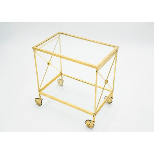 French Neoclassical Maison Jansen Gilded Iron Bar Cart 1960s For Sale - Image 6 of 12