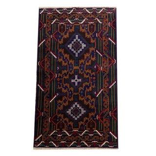 Pakistani Geometric Tribal Hand-Knotted Rug - 3′6″ × 6′5″ For Sale