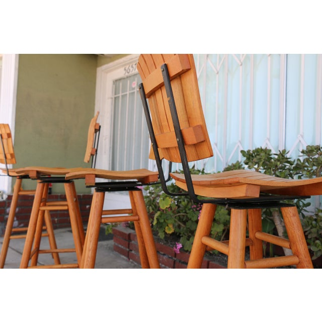 Wood Arthur Umanoff Mid Century Set 0f 4 Bar Stools For Sale - Image 7 of 9