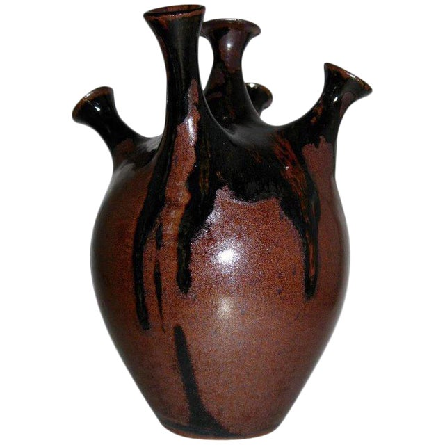 Studio Pottery Five-Chimney Weed Pot Vase With Drip Glaze For Sale