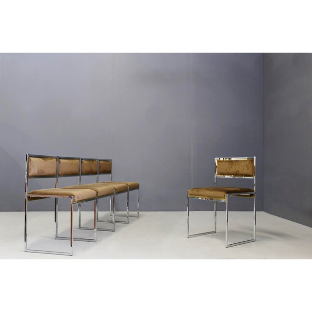 Elegant set of 6 chairs designed by Willy Rizzo in 1960/70. The structure of the chairs is in nickel-plated brass and...