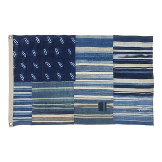 Vintage Indigo Shibori Denim Patchwork Mudcloth Flag