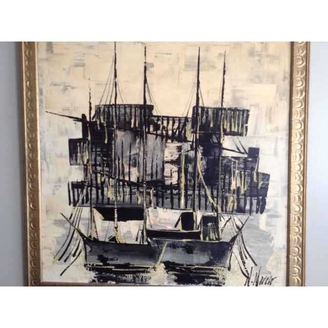Mid-Century Asian Ship Painting - Image 3 of 6