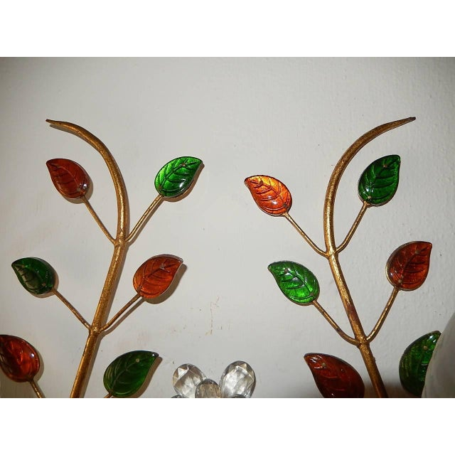French Maison Bagues Style Colored Floral Beaded Sconces For Sale - Image 9 of 10