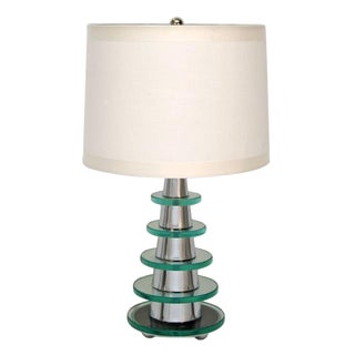 Modern Deco Glass Disk Pyramid Table Lamp For Sale