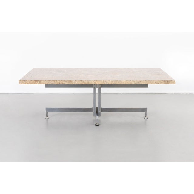 """coffee table designed by Hugh Acton for Vecta Group USA, c 1960s granite + chrome 16 ⅝"""" h x 50"""" w x 31 ⅛"""" d"""