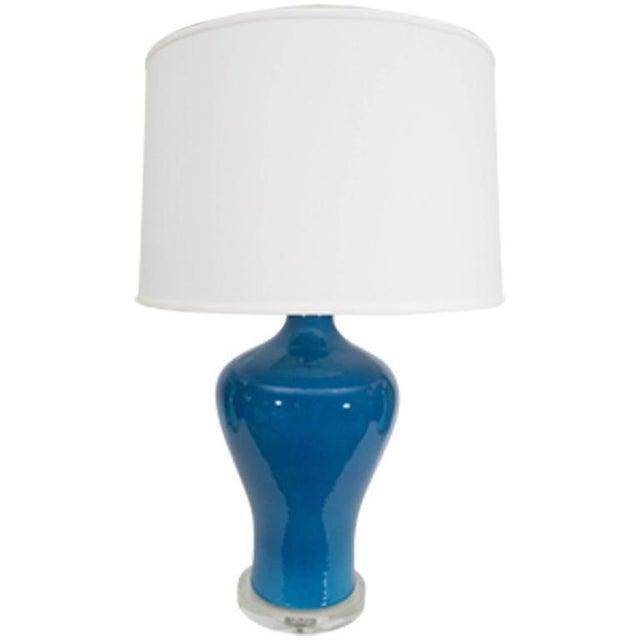 Blue Large Blue Porcelain Lamp For Sale - Image 8 of 8