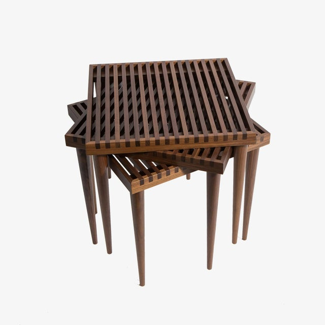 Smilow Furniture Walnut Slat Wood Side Tables/Stools For Sale In New York - Image 6 of 6