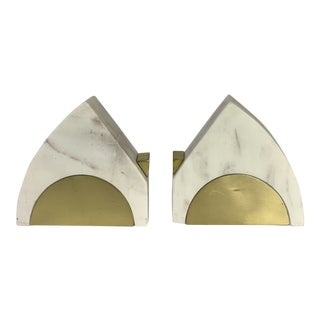 Art Deco Alabaster Bookends With Brass Accents - a Pair For Sale
