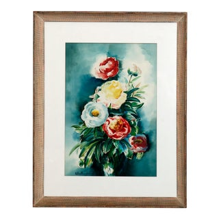Mid 20th Century Floral Still Life Watercolor Painting, Framed For Sale