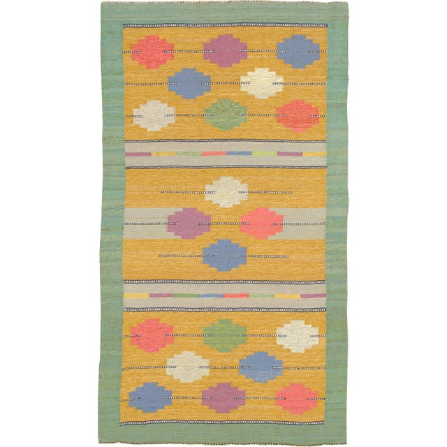 Mid 20th Century Swedish Flat Weave Rug- 4′1″ × 7′4″ For Sale In New York - Image 6 of 6
