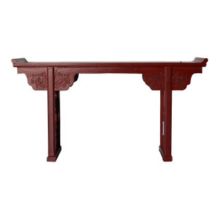 Large Red Lacquer Chinese Alter Table