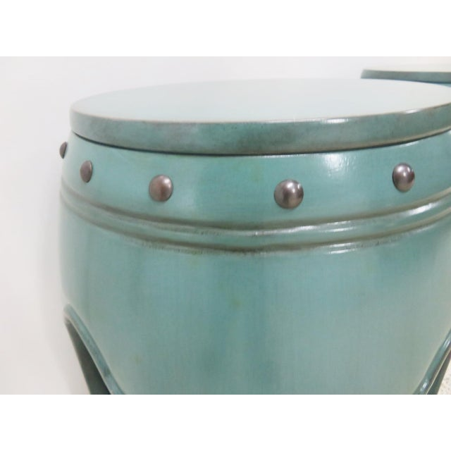 Asian Green Lacquered Garden Stools- A Pair - Image 4 of 8