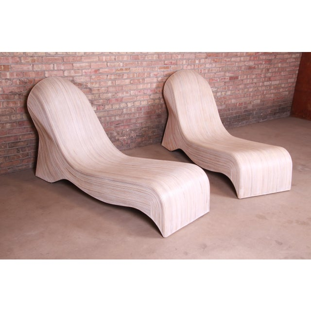 Brown Betty Cobonpue Sculptural Split Reed Rattan Chaise Lounges, Pair For Sale - Image 8 of 13