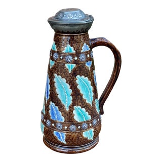 C. 1900 Antique French Majolica Stein Jug Pitcher Silver or Pewter Hinged Lid For Sale