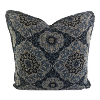 "Stroheim Blues Print Indoor-Outdoor Pillow 20"" x 20"" For Sale"