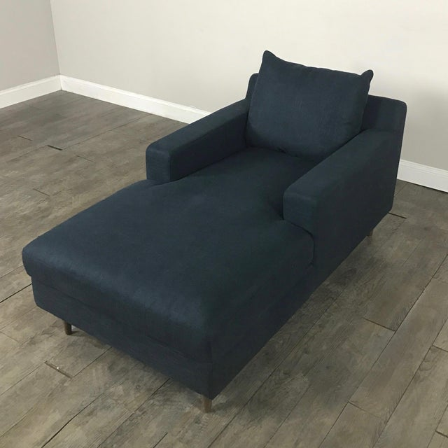 Modern Navy Chaise Lounge Sofa - Image 4 of 11