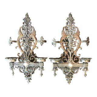 Early 20th Century Antique Gothic Wall Sconces - a Pair For Sale