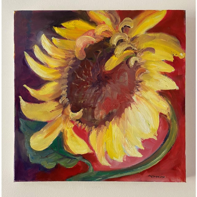 Contemporary Sunflower Still Life Oil Painting by Marina Movshina For Sale In Saint Louis - Image 6 of 6