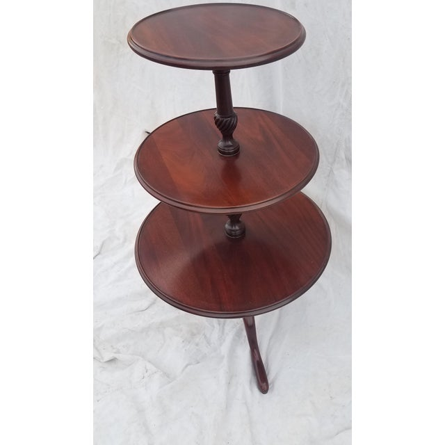 Brown 1990s Hickory Chair Co. 3 Tiered Mahogany Dumbwaiter/Butler Table Stand For Sale - Image 8 of 11