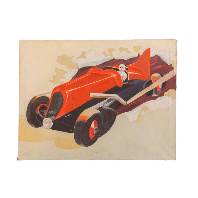 Canvas Vintage 1940s Folk Art Race Car Painting For Sale - Image 7 of 7