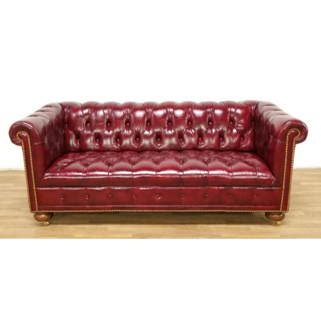 Vintage Mid Century Chesterfield Leather Tufted Sofa