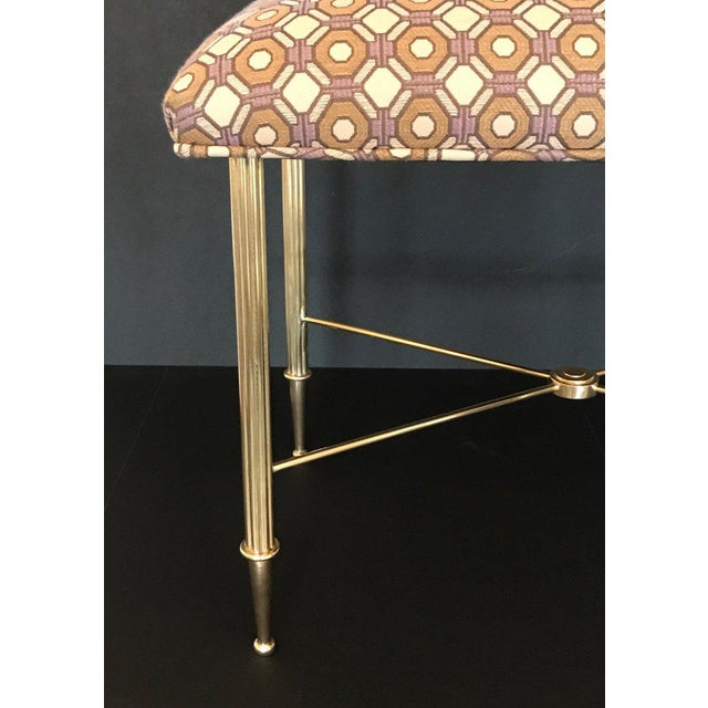 French Upholstered Brass With Reeded Legs Bench / Stool For Sale In Dallas - Image 6 of 13