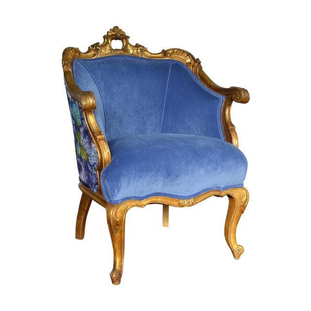 Antique French Gilded Louis XV Upholstered Cabriole Chair - Image 1 of 9